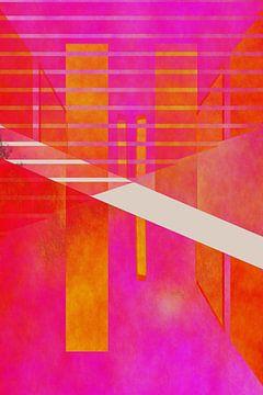 Abstracte geometrie roze oranje van Christine Bässler