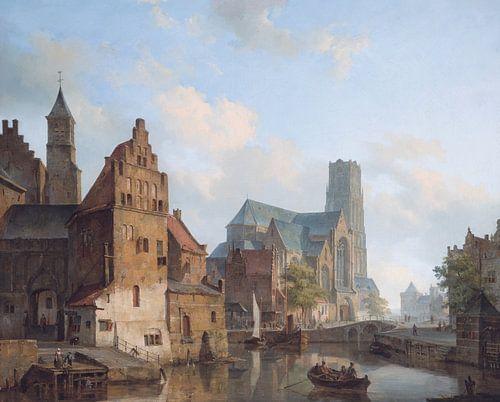 Schilderij Rotterdam - Zicht op Delfste Vaart en de Sint-Laurenskerk te Rotterdam - Cornelis Springe van