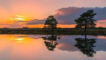 Zonsondergang in Holtveen, in Nationaal Park het Dwingelderveld