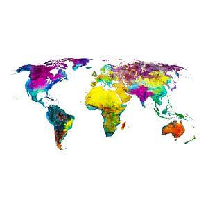 Carte du monde en couleurs tropicales   Cercle mural