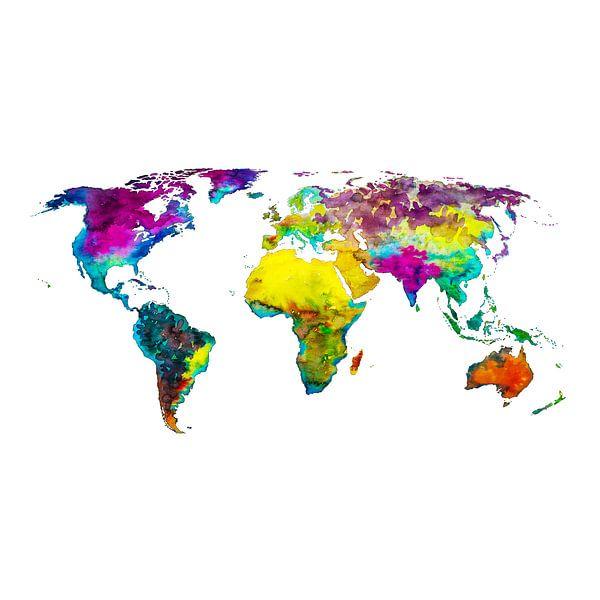 Carte du monde en couleurs tropicales   Cercle mural sur Wereldkaarten.Shop