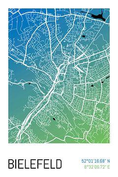 Bielefeld – City Map Design Stadtplan Karte (Farbverlauf) van