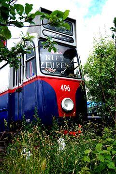 Old abandoned tram at NDSM wharf Amsterdam van Sanneke van den Berg