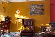 Klantfoto: Poolvos in het herfstlandschap van Noorwegen van Menno Schaefer, op canvas