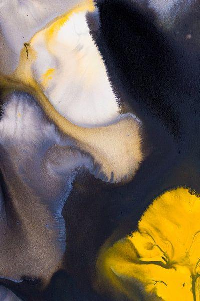 Macrofotografie acrylverf zwart en geel van Edith Lüthi