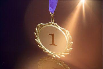 Close-up van een symbolische gouden medaille van Udo Herrmann