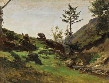 Carlos de Haes-Green Meadow Valley Bachlandschaft, Antike Landschaft