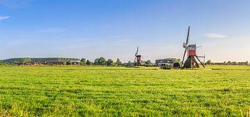 Panorama van weidelandschap met twee wipmolens bij Hoogmade von Henk van den Brink
