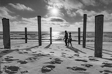 lopen op het strand van Petten van