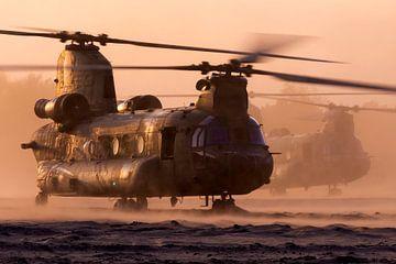 Twee Chinook transporthelikopters aan het werk tijdens zonsondergang van Jimmy van Drunen