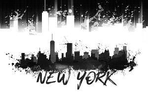 Graphic Art NYC Skyline Splashes | schwarz
