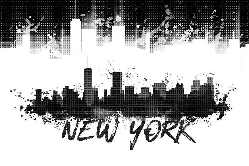 Grafische Kunst NYC Skyline Splashes | zwart van Melanie Viola