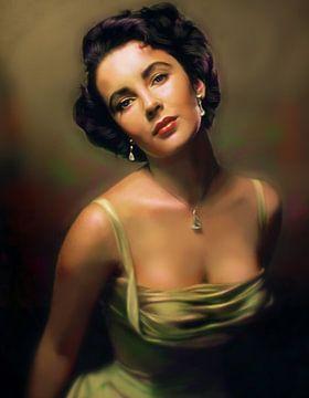 Romantische foto van Elizabeth Taylor  in de jaren 50 van Atelier Liesjes