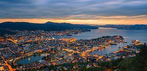 Sunset at Bergen as seen from Mount Floyen, Norway.