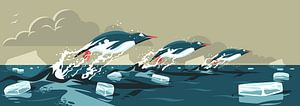 Pinguïns Zwemmend in Formatie van Eduard Broekhuijsen