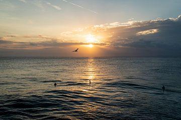 Zonsondergang met surfers in het water en een vogel in de lucht van Bali Nusa Lembongan, Indonesie van Twan Bankers