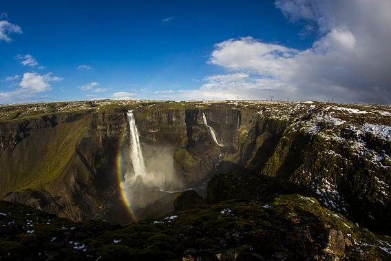 Háifoss waterfall van Freek van den Driesschen