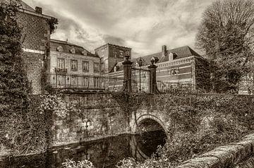 Kasteel Borgharen  in zwart-wit van John Kreukniet