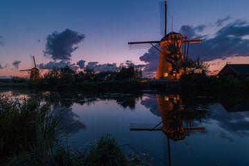 Beleuchtete Windmühlen Kinderdijk von AdV Photography