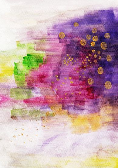 Violet Pink Gold Painting Watercolor Art