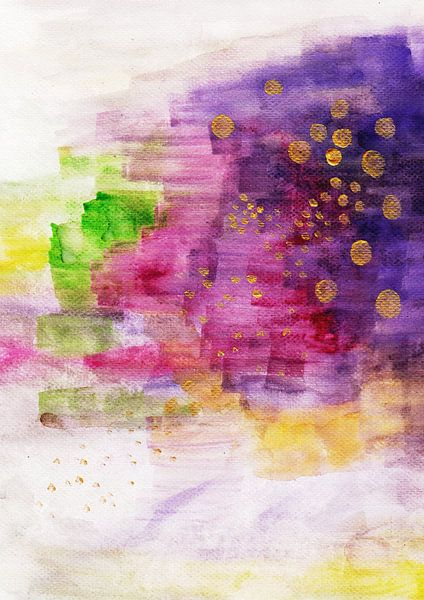 Violet Pink Gold Painting Watercolor Art van Laura Dogariu