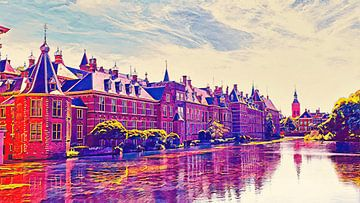 Der Hofvijver bei Buitenhof in Den Haag von Digital Art Nederland