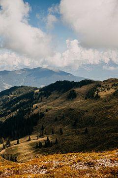 Uitzicht boven op de berg in Zell am See, Oostenrijk (Alpen) van Yvette Baur