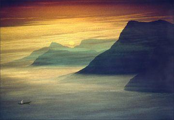 Sunset in mountain landscape  sur Marcel van Balken