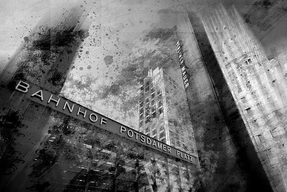 City-Art BERLIN Potsdamer Platz Dynamic black & white van Melanie Viola