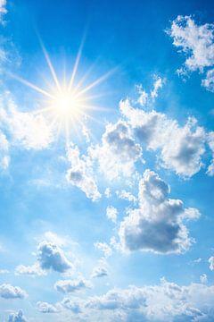 Bright sun on blue sky van