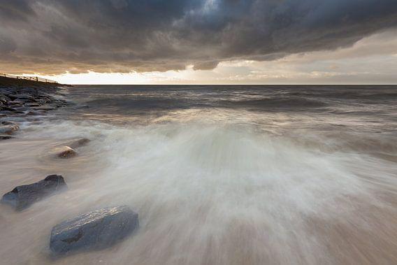 Harde wind bij het IJsselmeer