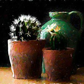 Holländisches Stillleben Vase und Kaktus. von Nico van der Hout