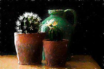 Holländisches Stillleben Vase und Kaktus.