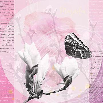 Magnolien Blüten  im Frühjahr mit Schriftzug und Schmetterling in schwarz weiß und rosa von Carmen Varo