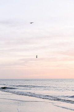 Pastelroze zonsondergang op het strand III | zee | kust | Nederland van Mirjam Broekhof