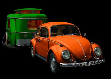 VW 1300 met Eriba Familia caravan in groen & oranje van aRi F. Huber