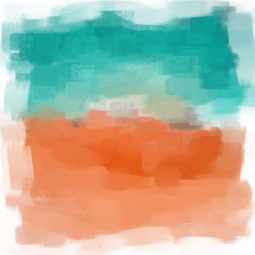 Abstract in blauw en terracotta tinten van Maurice Dawson