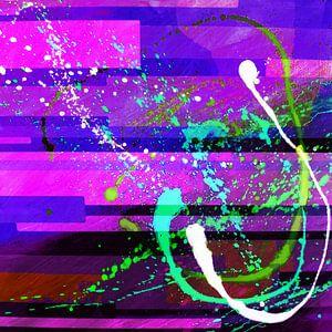 Modernes, abstraktes digitales Kunstwerk in Rosa Lila Blau von Art By Dominic