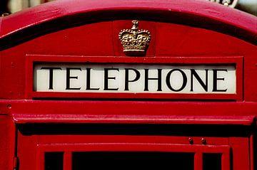 Closeup van een Londense telefooncel van