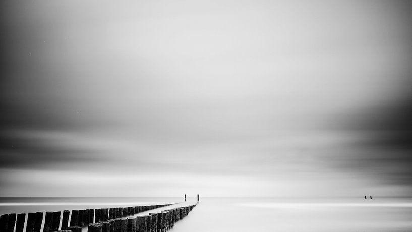 Strand #2 (zwart wit) van Lex Schulte