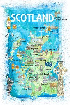 Geïllustreerde kaart van Schotland met bezienswaardigheden en hoogtepunten van Markus Bleichner
