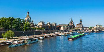 Historisch stadsgezicht op de Terrassenufer, Dresden, Duitsland van Ullrich Gnoth
