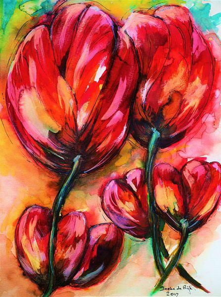 Rode tulpen. van Ineke de Rijk