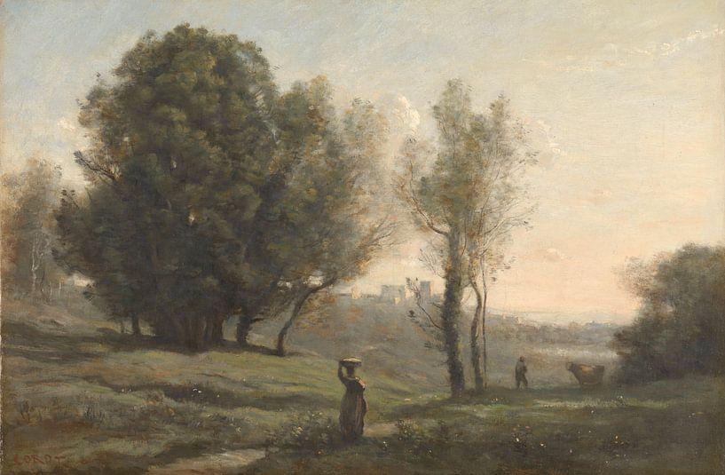 Landschaft ( Les Landes), Jean-Baptiste Camille Corot von Meesterlijcke Meesters