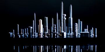 skyline van schroefjes en bouten van Alexander Cox