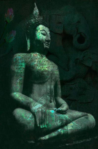 Buddha met olifanten van Anouschka Hendriks