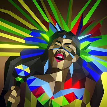 Tanzendes Maya-Mädchen (2019) von Pat Bloom - Moderne 3D, abstracte kubistische en futurisme kunst
