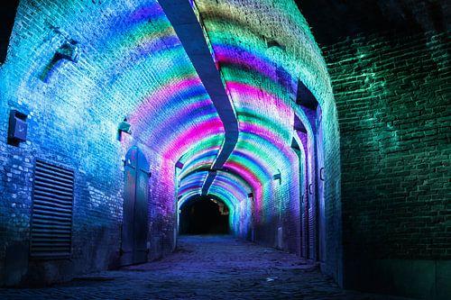 verlichte tunnel ganzenmarkt Utrecht van Ilya Korzelius