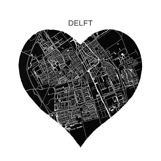 Delft in een zwarte hart  | Stadskaart als Wandcirkel