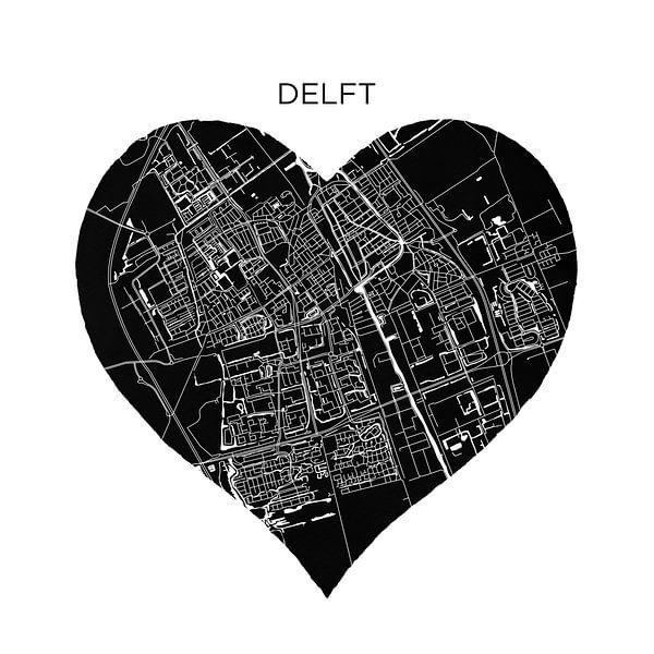Delft in een zwarte hart  | Stadskaart als Wandcirkel van Wereldkaarten.Shop